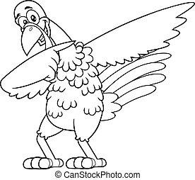 carácter, pavo, contorneado, caricatura, dabbing, pájaro