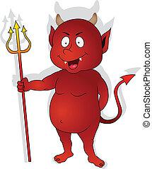 carácter, rojo, lindo, diablo