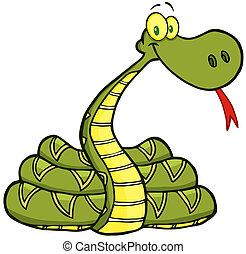 carácter, serpiente, caricatura