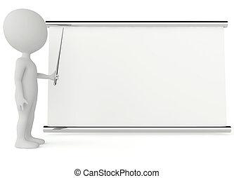carácter, signboard, humanoide, vacío, 3d