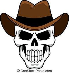 carácter, sombrero, fieltro, marrón, vaquero, cráneo