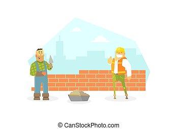 carácter, tela, design., constructor, buiding, ilustración, construcción, pared, ladrillo, plano, trabajador, macho, vector