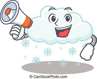 carácter, teniendo, megáfono, nube, caricatura, nevoso