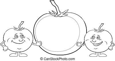 carácter, tomates, cartel, contorno