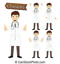 carácter, vector, conjunto, ilustración, doctor