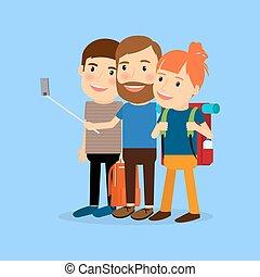 carácter, Viajar, familia, caricatura