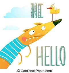 carácter, zorro, saludo, caricatura, hola, animal, pato, amigos, hola, tarjeta