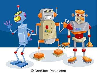 caráteres, fantasia, robô, ilustração, caricatura