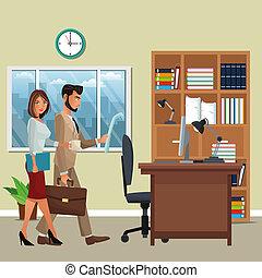 caráteres, negócio, cena, escritório
