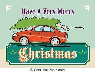 car, árvore, natal, feliz, automóvel