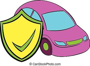 car, ícone, caricatura, seguro