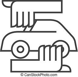 car, ícone, -, esboço, cuidado