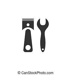 car, ícone, serviço, apartamento