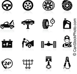 car, ícone, set1., serviço