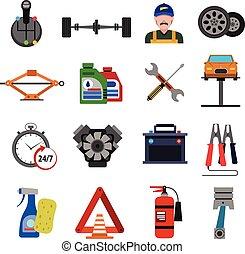 car, ícones, jogo, serviço, apartamento