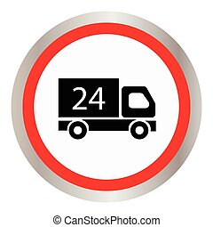 Car 24 hours icon - Car 24 hours, delivery 24 hours icon....