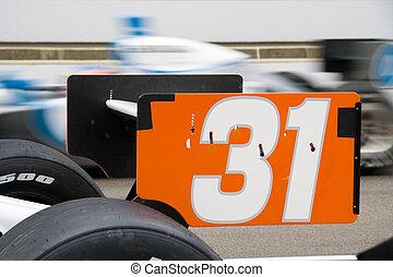 Car 31 - Rear spoiler of an Indy 500 racecar
