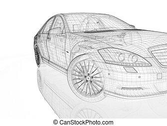 Car 3D model body structure