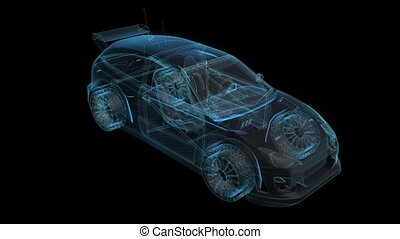 Car. 3d model of motorsport car. Looping motion animated hologram automobile.