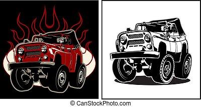 car, 4x4, caricatura
