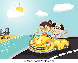 Car, a couple old passengers with beach background cartoon