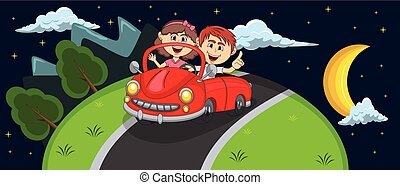 Car, a couple young passengers passes through the hill at night background cartoon