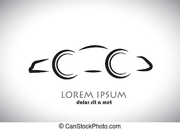 Car abstract sign or symbol. Vector icon graphic in black color on white and grey background.