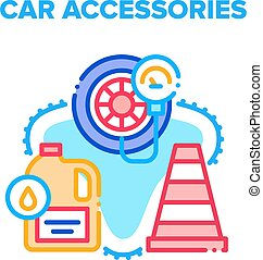 Car Accessories Vector Concept Color Illustration