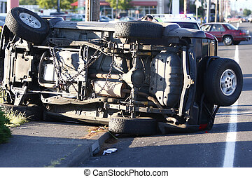 A car that has been totaled in an accident.