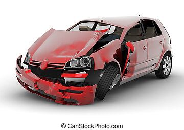 A red car accident isolated on white background