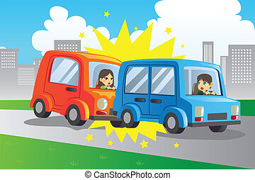 Car accident - A vector illustration of two cars in an...