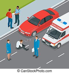 Car accident. Accident car and pedestrian. Flat 3d vector isometric illustration. Accident road situation danger car crash and accident road collision safety emergency transport.