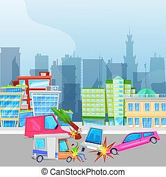 Car accident and crash on road in city vector illustration. ...