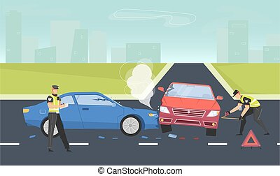 Car accident background with police and rules symbols flat vector illustration