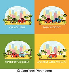 Car accident banners - collision and pedestrian