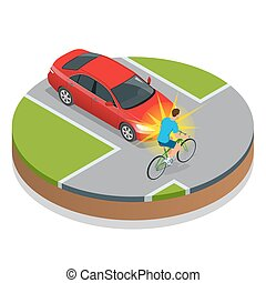 Car accident. Bike Accident With a Vehicle. Flat 3d vector isometric illustration. Accident road situation danger car crash and accident road collision safety emergency transport.