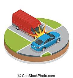 Car accident. Car crash. Flat 3d vector isometric...