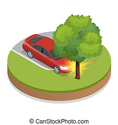 Car accident. Car crash. Flat 3d vector isometric illustration. Accident road situation danger car crash and accident road collision safety emergency transport. Accident dangerous speed.