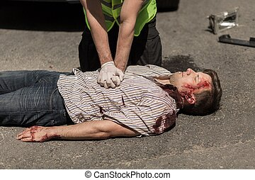 Car accident casualty - First aid for bloody car accident...