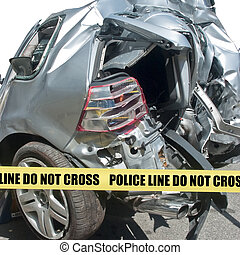 Car accident close-up - Demolished rear end of car in close-...