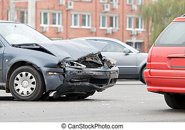 Car accident crash - Two car crash accident on a road in...