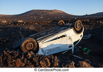 Car accident. Crashed and overturned automobile in Lanzarote