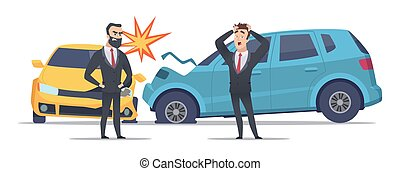 Car accident. Damaged autos angry scared men. Businessmen vector character and crashed cars