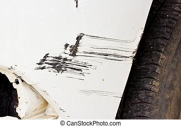 Car accident, damaged vehicle after crash