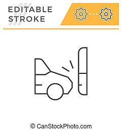 Car accident editable stroke line icon