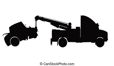 car accident  - car being towed from accident in silhouette
