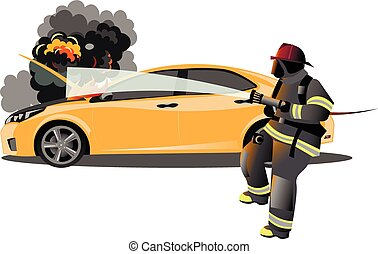 Car accident. Fireman