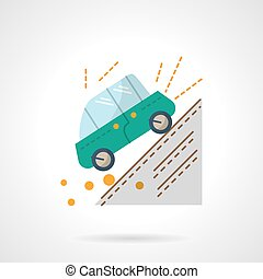 Car accident flat color design vector icon