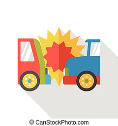 car accident flat icon