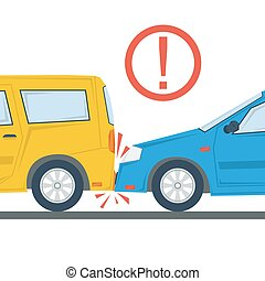 Car accident flat illustration isolated